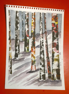 winter birch watercolor