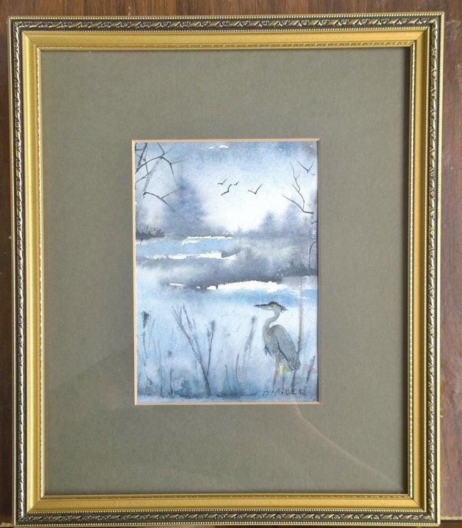 great blue heron watercolor painting