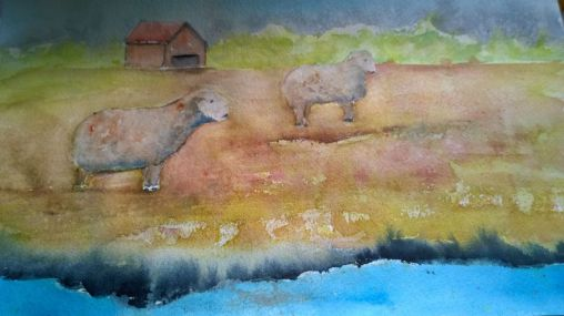 """SOLD"" Sheep in Watercolor landscape"