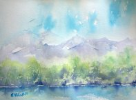 Watercolor landscape with mountains