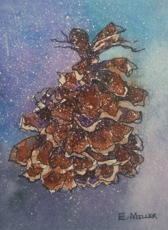 Pinecone done with Watercolor by E. Miller