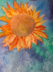 Sunflower done with watercolor