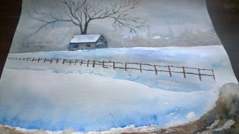 Watercolor landscape with barn and tree