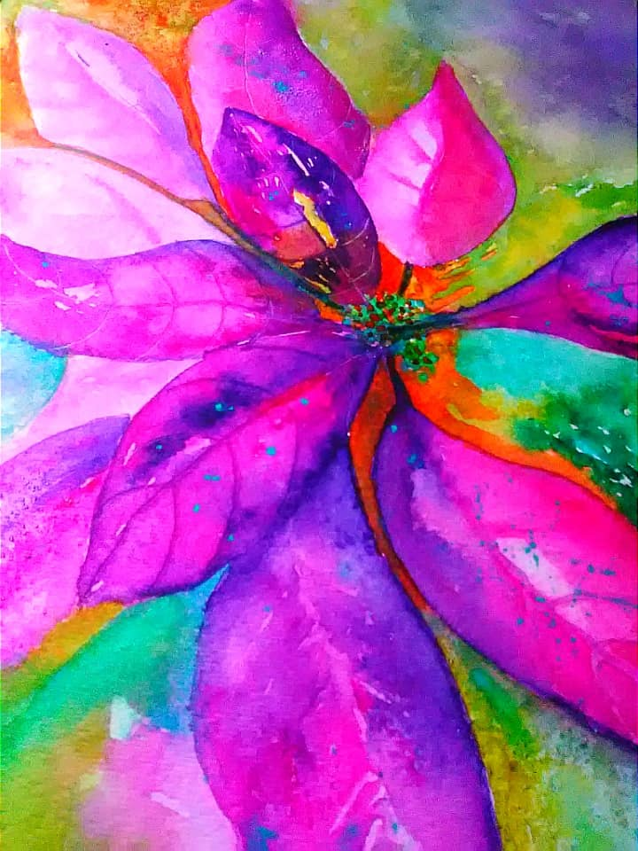 Watercolor Poinsettia Painting