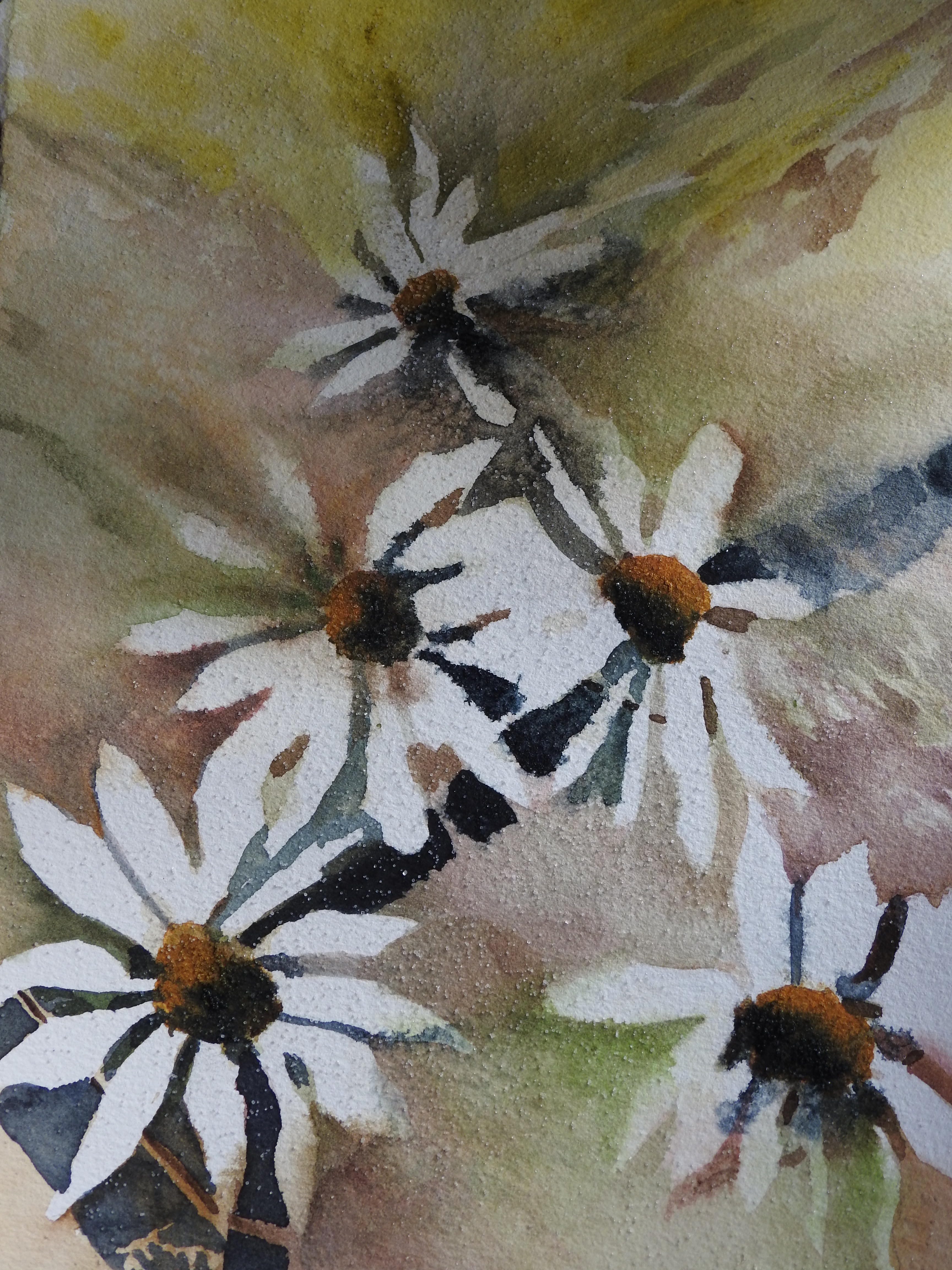 Watercolor Daisies in an abstract work in progress