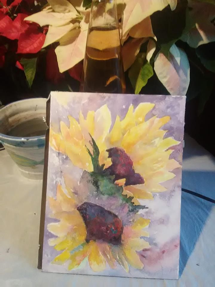 Loose Sunflowers in Watercolor.