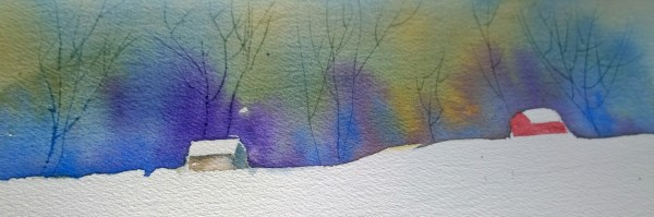 Two outbuildings in a winter landscape watercolor painting.