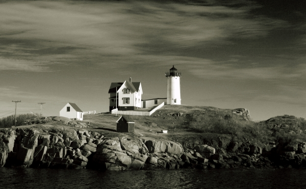 B&W Nubble Lighthouse located in Cape Neddick Maine USA