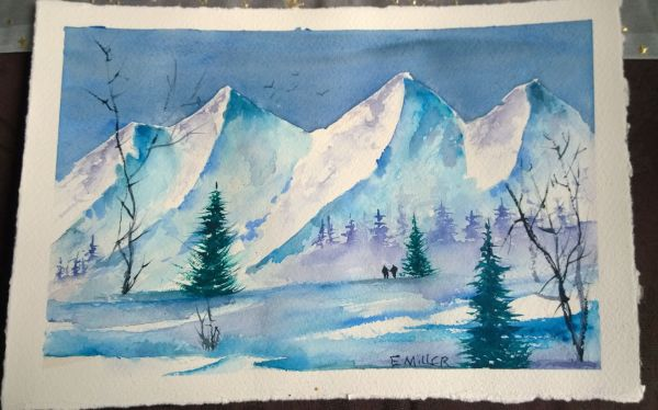 Watercolor landscape I painted on a hot summer day withnot a mountain insight for me it flows out from within.
