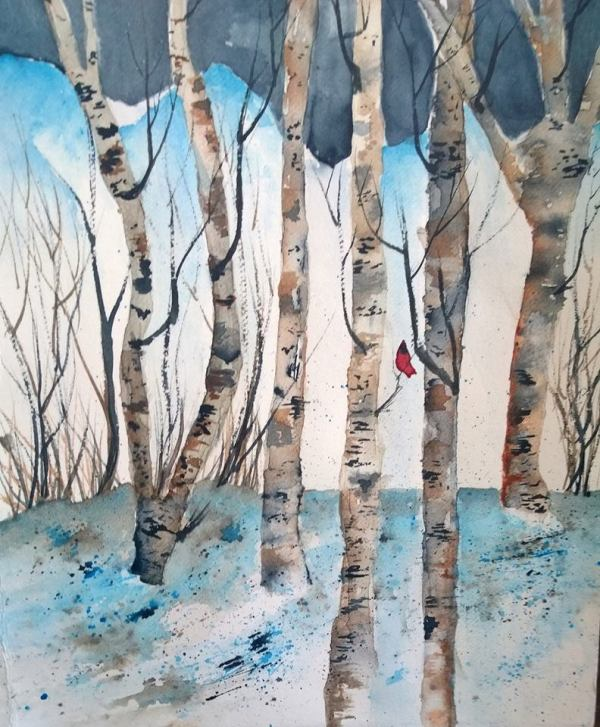 A Male Cardinal sits amoungst the Birch trees in this watercolor painting.